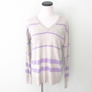 🔴5/$25 GAP Gray lavender striped V-neck Sweater